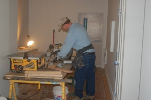 Contractor works on The Attwater renovation, Newport, RI